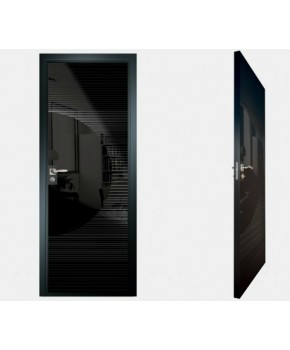 """Межкомнатные стеклокаркасные двери. Модель """"13 MB"""". Фабрика Аксиома. Покрытие зеркало. Цвет моноколор черный"""