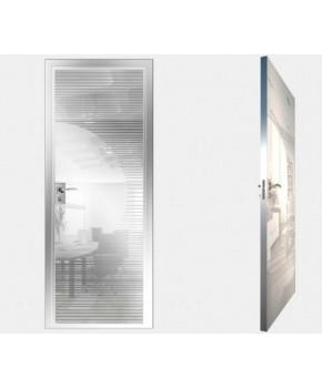 """Межкомнатные стеклокаркасные двери. Модель """"13 MW"""". Фабрика Аксиома. Покрытие зеркало. Цвет моноколор белый"""