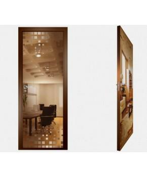 """Межкомнатные стеклокаркасные двери. Модель """"14 В"""". Фабрика Аксиома. Покрытие зеркало. Цвет бронза"""