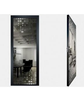 """Межкомнатные стеклокаркасные двери. Модель """"14 G"""". Фабрика Аксиома. Покрытие зеркало. Цвет графит"""
