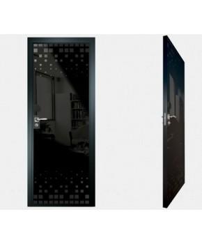 """Межкомнатные стеклокаркасные двери. Модель """"14 MB"""". Фабрика Аксиома. Покрытие зеркало. Цвет моноколор черный"""