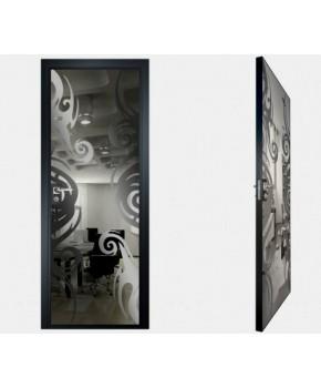 """Межкомнатные стеклокаркасные двери. Модель """"15 G"""". Фабрика Аксиома. Покрытие зеркало. Цвет графит"""