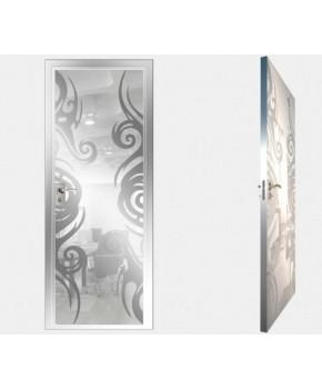 """Межкомнатные стеклокаркасные двери. Модель """"15 MW"""". Фабрика Аксиома. Покрытие зеркало. Цвет моноколор белый"""