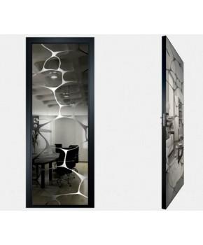 """Межкомнатные стеклокаркасные двери. Модель """"16 G"""". Фабрика Аксиома. Покрытие зеркало. Цвет графит"""