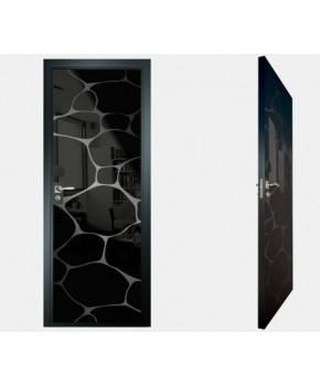 """Межкомнатные стеклокаркасные двери. Модель """"16 MB"""". Фабрика Аксиома. Покрытие зеркало. Цвет моноколор черный"""