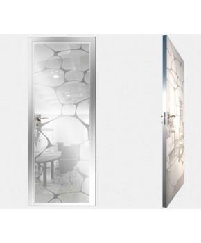 """Межкомнатные стеклокаркасные двери. Модель """"16 MW"""". Фабрика Аксиома. Покрытие зеркало. Цвет моноколор белый"""
