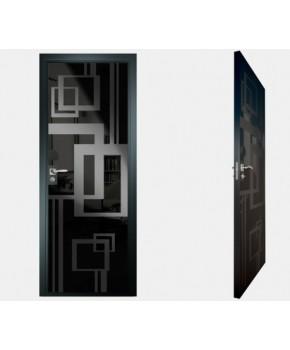 """Межкомнатные стеклокаркасные двери. Модель """"18 MB"""". Фабрика Аксиома. Покрытие зеркало. Цвет моноколор черный"""