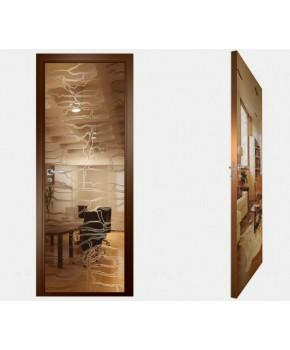 """Межкомнатные стеклокаркасные двери. Модель """"19 В"""". Фабрика Аксиома. Покрытие зеркало. Цвет бронза"""