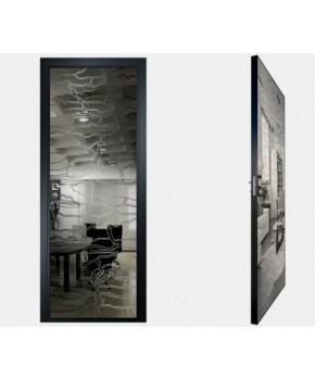 """Межкомнатные стеклокаркасные двери. Модель """"19 G"""". Фабрика Аксиома. Покрытие зеркало. Цвет графит"""