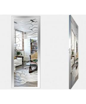 """Межкомнатные стеклокаркасные двери. Модель """"19 S"""". Фабрика Аксиома. Покрытие зеркало. Цвет серебро"""