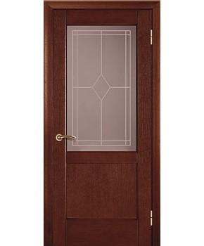 """Межкомнатные шпонированные двери """"Классик 1"""" ПО.  НСД. Цвет - каштан"""