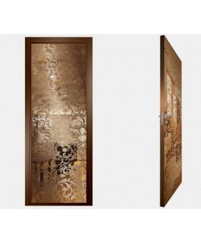 """Межкомнатные стеклокаркасные двери. Модель """"20 В"""". Фабрика Аксиома. Покрытие зеркало. Цвет бронза"""
