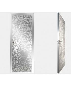 """Межкомнатные стеклокаркасные двери. Модель """"20 MW"""". Фабрика Аксиома. Покрытие зеркало. Цвет моноколор белый"""