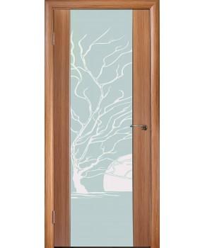 """Межкомнатные шпонированные двери """"Глазго с рисунком"""" ПО.  НСД. Цвет - дуб классический"""