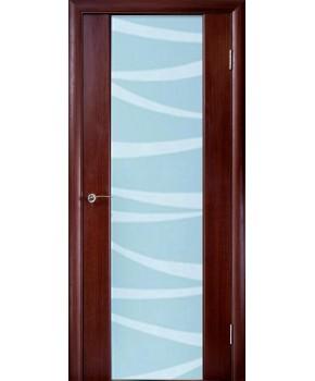 """Межкомнатные шпонированные двери """"Глазго с рисунком"""" ПО.  НСД. Цвет - каштан"""