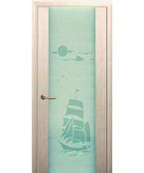 """Межкомнатные шпонированные двери """"Милано с рисунком"""" ПО.  НСД. Цвет - дуб беленый"""