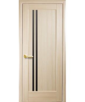 """Межкомнатные двери """"Делла"""",ПО, черное стекло, пленка ПВХ, фабрика """"Новый стиль"""", цвет - ясень."""