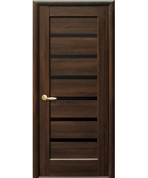 """Межкомнатные двери """"Линнея"""",ПО черным стеклом, пленка ПВХ, фабрика """"Новый стиль"""", цвет - каштан"""