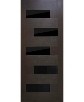 """Межкомнатные двери """"Домино"""" ПО с черным стеклом. Фабрика Омис. Покрытие пленка ПВХ. Цвет - венге"""