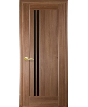 """Межкомнатные двери """"Делла"""",ПО, черное стекло, пленка ПВХ, фабрика """"Новый стиль"""", цвет - золотая ольха."""