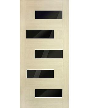 """Межкомнатные двери """"Домино"""" ПО с черным стеклом. Фабрика Омис. Покрытие пленка ПВХ. Цвет - дуб беленый"""