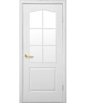 """Межкомнатные ламинированные двери """"Симпли В"""" ПО  фабрика """"Новый стиль"""", цвет - белый, под покраску."""