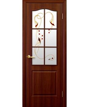 """Межкомнатные двери """"Фортис В"""",ПО +Р1. пленка ПВХ, фабрика """"Новый стиль"""", цвет - орех"""
