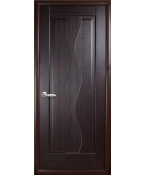 """Межкомнатные двери """"Волна"""",ПГ, пленка ПВХ, фабрика """"Новый стиль"""", цвет - венге."""