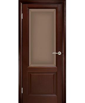 """Межкомнатные шпонированные двери """"Парламент"""" ПО с фацетом.  WoodOk. Цвет - венге"""