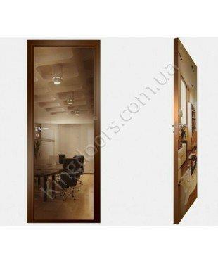 """Межкомнатные стеклокаркасные двери. Модель """"00 В"""". Фабрика Аксиома. Покрытие зеркало. Цвет бронза"""