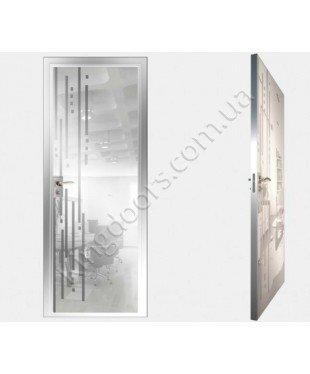 """Межкомнатные стеклокаркасные двери. Модель """" 03 MW"""". Фабрика Аксиома. Покрытие зеркало. Цвет моноколор белый"""