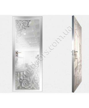 """Межкомнатные стеклокаркасные двери. Модель """" 05 MW"""". Фабрика Аксиома. Покрытие зеркало. Цвет моноколор белый"""