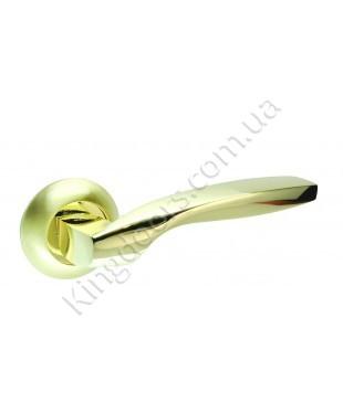 Дверная ручка на круглой розетке Модель Гранд. Цвет матовая латунь (матовое золото)