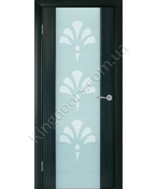 """Межкомнатные шпонированные двери """"Глазго с рисунком"""" ПО.  НСД. Цвет - дуб графит"""