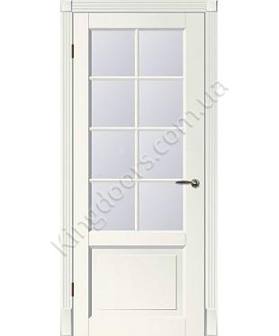 """Межкомнатные шпонированные двери """"Tecoro k-1 """" ПО с решеткой.  WoodOk. Цвет - белая эмаль"""