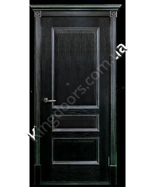 """Межкомнатные шпонированные двери """"Вена - Ш"""" ПГ.  Двери Белоруссии. Цвет - черная патина в серебре"""