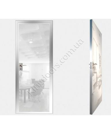 """Межкомнатные стеклокаркасные двери. Модель """" 00 MW"""". Фабрика Аксиома. Покрытие зеркало. Цвет моноколор белый"""