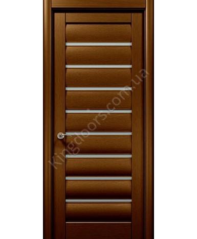 """Межкомнатные шпонированные двери """"Онда  3"""" ПО.  WoodOk. Цвет - шоколадный венге"""