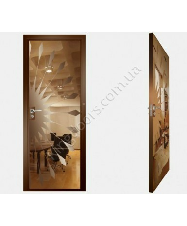 """Межкомнатные стеклокаркасные двери. Модель """"02 В"""". Фабрика Аксиома. Покрытие зеркало. Цвет бронза"""