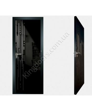 """Межкомнатные стеклокаркасные двери. Модель """"03 MB"""". Фабрика Аксиома. Покрытие зеркало. Цвет моноколор черный"""
