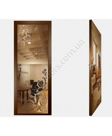 """Межкомнатные стеклокаркасные двери. Модель """"05 В"""". Фабрика Аксиома. Покрытие зеркало. Цвет бронза"""
