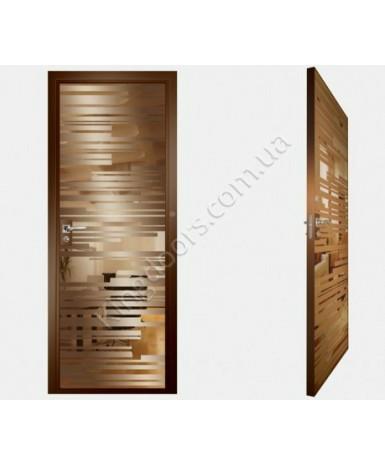 """Межкомнатные стеклокаркасные двери. Модель """"06 В"""". Фабрика Аксиома. Покрытие зеркало. Цвет бронза"""