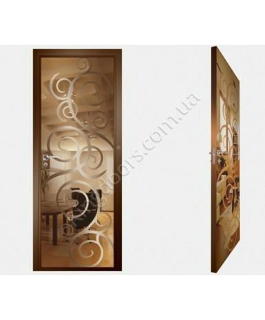 """Межкомнатные стеклокаркасные двери. Модель """"08 В"""". Фабрика Аксиома. Покрытие зеркало. Цвет бронза"""