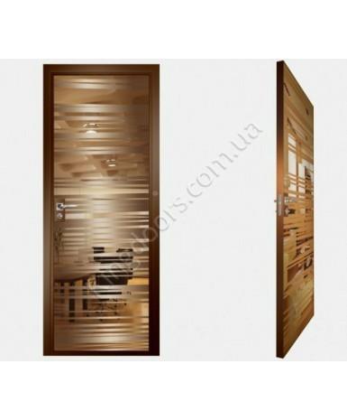 """Межкомнатные стеклокаркасные двери. Модель """"09 В"""". Фабрика Аксиома. Покрытие зеркало. Цвет бронза"""
