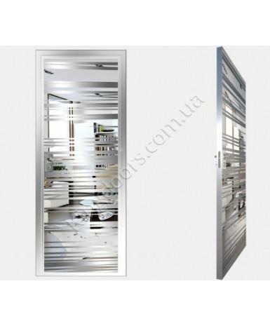 """Межкомнатные стеклокаркасные двери. Модель """"09 S"""". Фабрика Аксиома. Покрытие зеркало. Цвет серебро"""