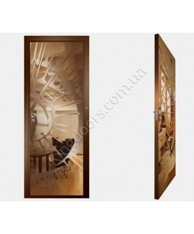 """Межкомнатные стеклокаркасные двери. Модель """"11 В"""". Фабрика Аксиома. Покрытие зеркало. Цвет бронза"""