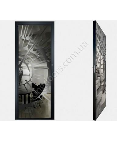 """Межкомнатные стеклокаркасные двери. Модель """"11 G"""". Фабрика Аксиома. Покрытие зеркало. Цвет графит"""