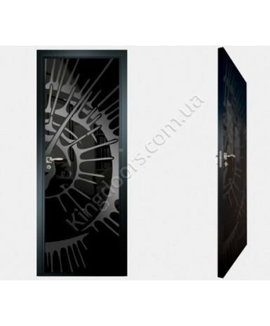 """Межкомнатные стеклокаркасные двери. Модель """"11 MB"""". Фабрика Аксиома. Покрытие зеркало. Цвет моноколор черный"""