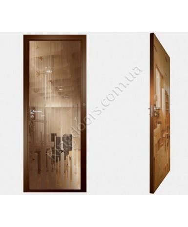 """Межкомнатные стеклокаркасные двери. Модель """"12 В"""". Фабрика Аксиома. Покрытие зеркало. Цвет бронза"""