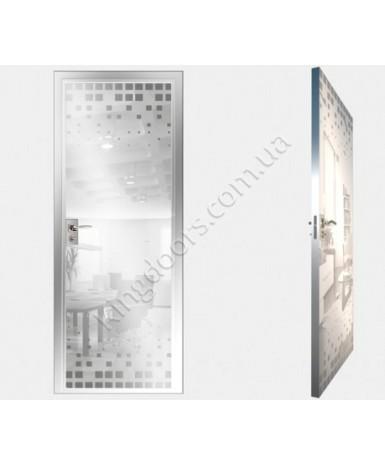 """Межкомнатные стеклокаркасные двери. Модель """"14 MW"""". Фабрика Аксиома. Покрытие зеркало. Цвет моноколор белый"""